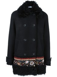 Red Valentino Embroidered Hem Double Breasted Coat Black