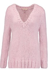 Michael Kors Collection Metallic Mohair Blend Sweater Pastel Pink