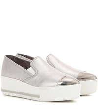 Miu Miu Leather Platform Slip On Sneakers Silver
