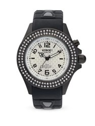 Kyboe Silicone Pave Crystal Stainless Steel Strap Watch Stones