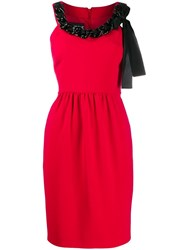 Boutique Moschino Chain Embellished Crepe Dress Red