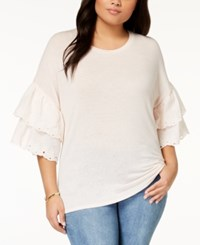 Eyeshadow Trendy Plus Size Layered Sleeve T Shirt Shell