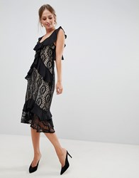 Liquorish Midi Dress With Lace And Ruffles Black
