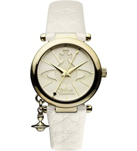Vivienne Westwood Vv006whwh Gold Toned Leather Watch White