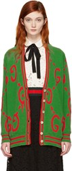Green Oversized Guccighost Cardigan