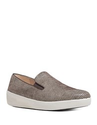 Fitflop Superskate Lizard Printed Suede Loafers Chocolate