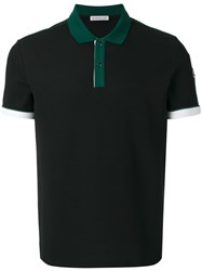 Moncler Contrast Collar And Cuffs Polo Shirt Black