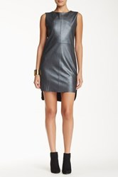 My Tribe Genuine Leather Accent Sleeveless Dress Gray