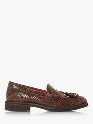 Bertie Giorgeo Leather Tasselled Loafers Brown Reptile Print