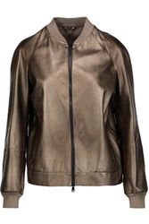 Brunello Cucinelli Metallic Textured Leather Bomber Jacket It42
