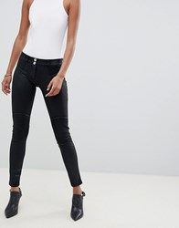 Freddy Wr.Up Mid Rise Shaping Effect Coated Crop Biker Jean Black