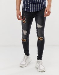 Sik Silk Siksilk Super Skinny Jeans With Baroque Rips In Washed Black