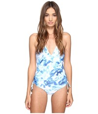 Seafolly Caribbean Ink Deep V Maillot Blue Indigo Women's Swimsuits One Piece