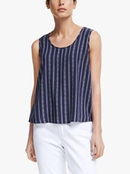 John Lewis Collection Weekend By Stripe Sleeveless Top Navy White
