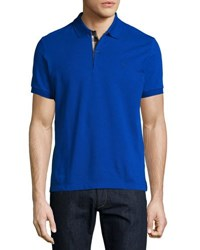 Burberry Short Sleeve Oxford Polo Shirt Blue