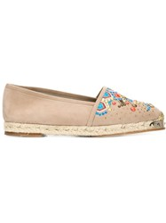 Giuseppe Zanotti Design Embroidered Espadrilles Nude And Neutrals