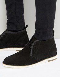 Asos Desert Boots In Black Suede With Leather Detailing Black