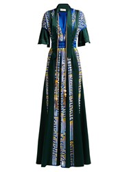Peter Pilotto Embellished Satin Evening Gown Green
