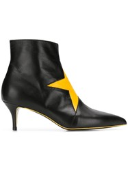 Msgm Ankle Boots With Star Patch Black