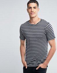 Only And Sons Crew Neck T Shirt With Jaquard Stripe Dark Navy