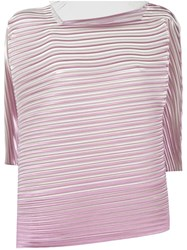 Issey Miyake Pleats Please By Square Neck Pleated Blouse Pink Purple