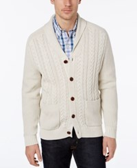 Tommy Bahama Men's Shawl Collar Cable Knit Cardigan French Clay
