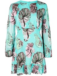Cynthia Rowley Inverness Teal Fish Bell Sleeve Dress Green
