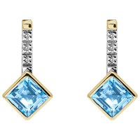 A B Davis 9Ct Gold Channel Set Diamonds And Princess Semi Precious Stone Drop Earrings Blue Topaz