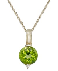 Macy's Peridot 2 1 4 Ct. T.W. And Diamond Accent Oval Pendant Necklace In 14K Gold