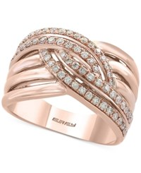 Effy Pave Rose By Diamond Woven Ring 1 2 Ct. T.W. In 14K Rose Gold