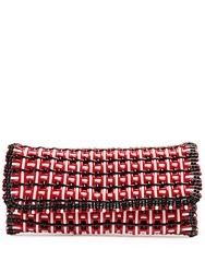 Balenciaga Bistrot Braided Patent Clutch Red Multi