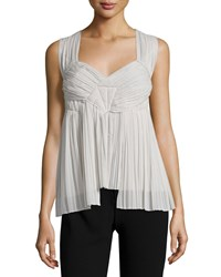 Donna Karan Sleeveless Sweetheart Neck Plisse Top Platinum White