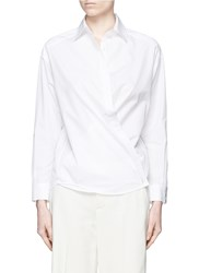 Vince Crossover Front Cotton Poplin Shirt White