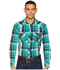 Rock And Roll Cowboy Plaid Long Sleeve Snap B2s5709 Green Long Sleeve Button Up