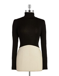 Design Lab Lord And Taylor Turtleneck Crop Top Black