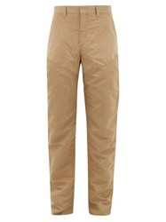 Burberry Topstitched Cotton Chino Trousers Camel