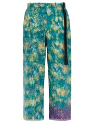 Craig Green Cropped Vibrating Floral Print Technical Trousers Green