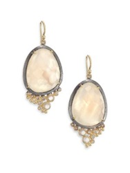 Rene Escobar Mother Of Pearl Clear Quartz Diamond 18K Yellow Gold And Sterling Silver Drop Earrings Gold Multi