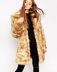 Asos Coat In Pelted Vintage Faux Fur And Shawl Collar Tan