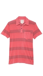 Splendid Denim Stripe Short Sleeve Polo With Contrast Pocket