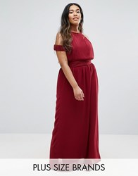 Club L Plus Maxi Dress With Cut Out Shoulder Berry Red
