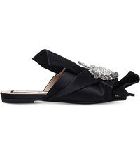 No 21 Unicorn Embellished Satin Peep Toe Mules Black