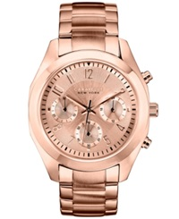 Caravelle New York By Bulova Women's Chronograph Rose Gold Tone Stainless Steel Bracelet Watch 36Mm 44L115 Women's Shoes