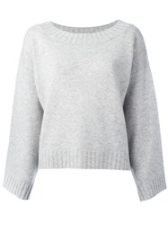 Vince Drop Shoulder Oversized Knit Top Grey