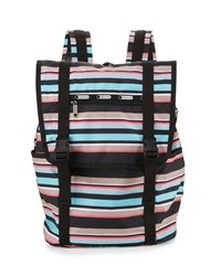 Le Sport Sac Lesportsac Journey Striped Flap Top Backpack Tennis Stripe