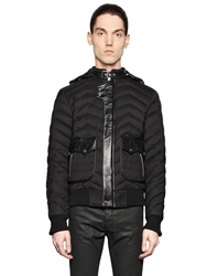 The Kooples Quilted Wool Blend Flannel Puffer Jacket Black