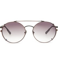 Kris Van Assche Kva70 Unique Circular Combination Aviator Sunglasses Matt Grey