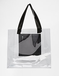 Echo Clear Tote Beach Bag With Pocket 001Black