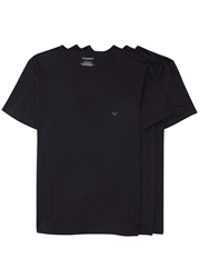 Emporio Armani Black Cotton T Shirts Three Pack