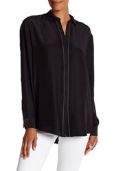 Atm Anthony Thomas Melillo Fringe Trim Silk Shirt Black